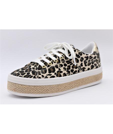NO NAME MALIBU SNEAKER Canvas/Leopard - Naturel