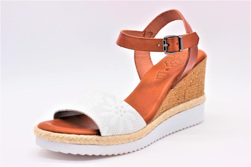 60bb7370f7ce08 PORRONET F12445 BLANC sandale compensée en cuir confort pour femmes